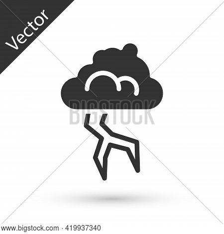 Grey Storm Icon Isolated On White Background. Cloud And Lightning Sign. Weather Icon Of Storm. Vecto