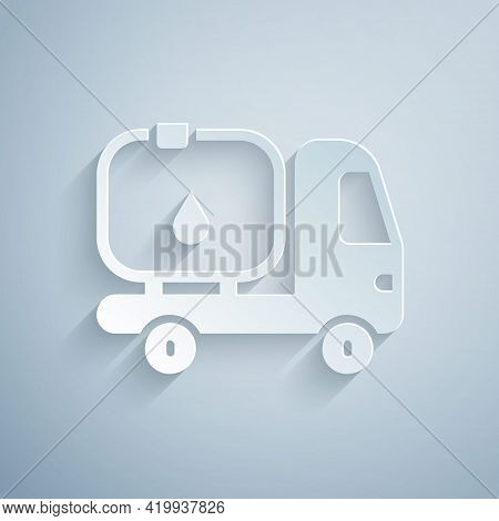 Paper Cut Fuel Tanker Truck Icon Isolated On Grey Background. Gasoline Tanker. Paper Art Style. Vect