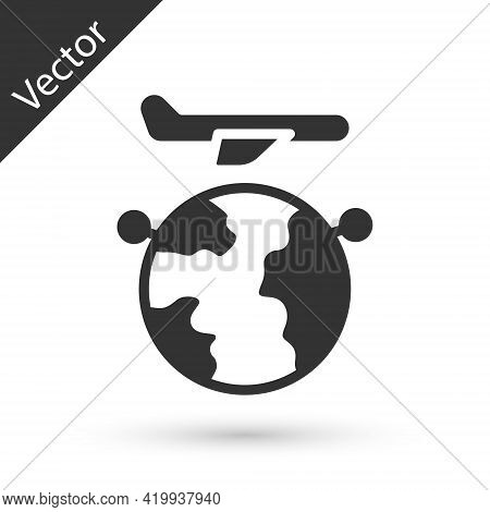 Grey Globe With Flying Plane Icon Isolated On White Background. Airplane Fly Around The Planet Earth