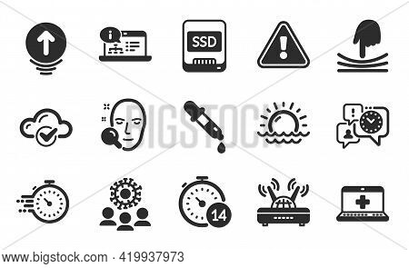 Swipe Up, Ssd And Sunset Icons Simple Set. Coronavirus, Wifi And Quarantine Signs. Chemistry Pipette