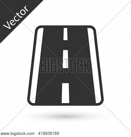 Grey Airport Runway For Taking Off And Landing Aircrafts Icon Isolated On White Background. Vector