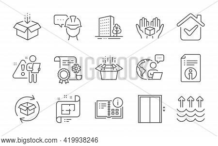 Buildings, Architectural Plan And Get Box Line Icons Set. Lift, Construction Document And Hold Box S