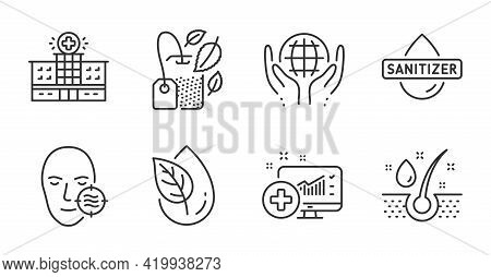 Organic Product, Hand Sanitizer And Mint Bag Line Icons Set. Organic Tested, Serum Oil And Problem S