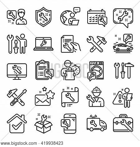 Repair Car Service Line Icons. Set Of Hammer, Screwdriver And Spanner Tool Icons. Recovery, Washing