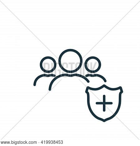 People Crowd With Medical Shield Line Icon. Immune System Of Person. Medical Prevention For People.
