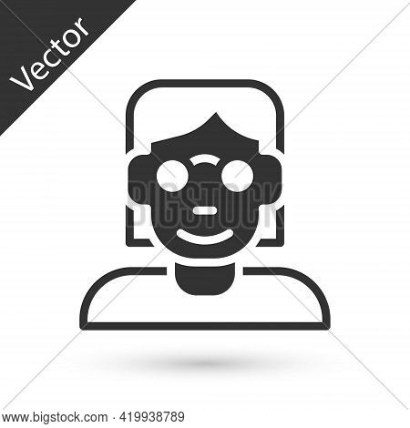 Grey Hacker Or Coder Icon Isolated On White Background. Programmer Developer Working On Code, Coding