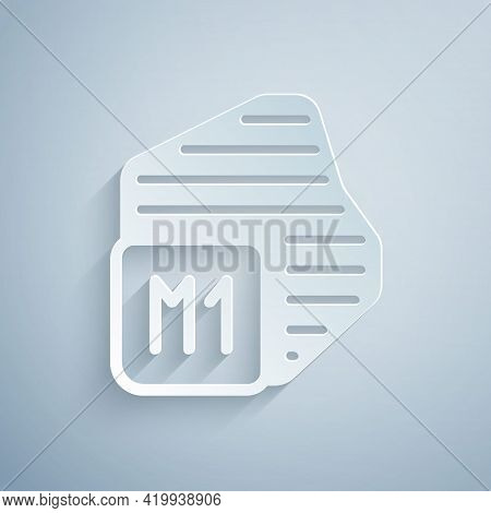 Paper Cut Processor Icon Isolated On Grey Background. Cpu, Central Processing Unit, Microchip, Micro