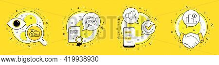 Salary, Loud Sound And Idea Line Icons Set. Licence, Cell Phone And Deal Vector Icons. Decreasing Gr