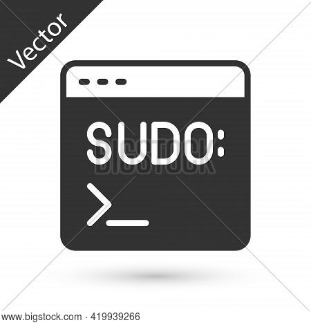 Grey Code Terminal Icon Isolated On White Background. Browser Window With Command Line. Command Pane