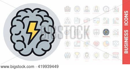 Brainstorm Or Brainstorming Icon. Human Brain With A Lightning Bolt Inside. Simple Color Version Fro