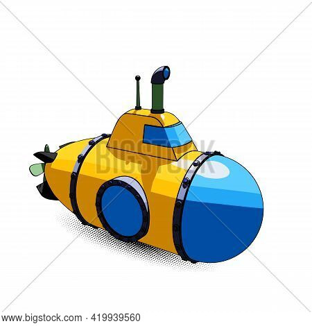 Cartoon Yellow Submarine With Periscope And Large Portholes, Perspective View. Vector Illustration I