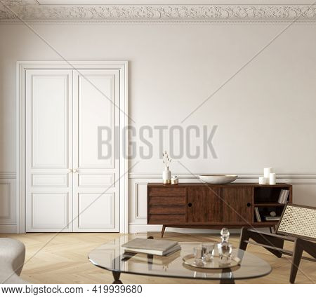 Classic White-beige Interior With Dresser, Lounge Chair And Decor. 3d Render Illustration Mockup.