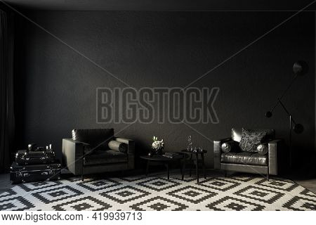 Black Interior With Leather Armchairs, Coffee Table And Decor. 3d Render Illustration Mockup.