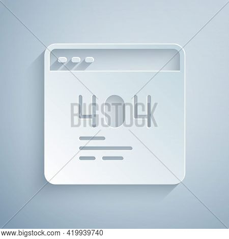 Paper Cut Page With A 404 Error Icon Isolated On Grey Background. Template Reports That The Page Is