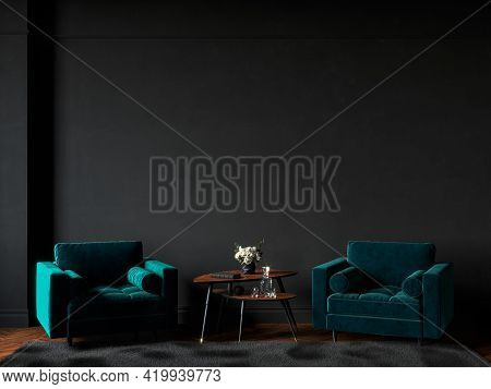Black Interior With Green Velour Armchairs, Fur Carpet And Decor. 3d Render Illustration Mockup.