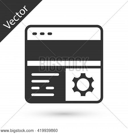 Grey Debugging Icon Isolated On White Background. Debugging Tool. Magnifying Glass On Bug Programmin