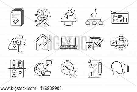 Timer, Handout And Megaphone Line Icons Set. 24h Service, Report Document And Management Signs. Loya