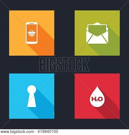 Set Shopping Basket On Mobile, Mail And E-mail, Keyhole And Water Drop With H2o Icon. Vector