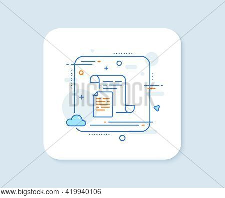 Documents Line Icon. Abstract Square Vector Button. Doc File Page Sign. Office Note Symbol. Document