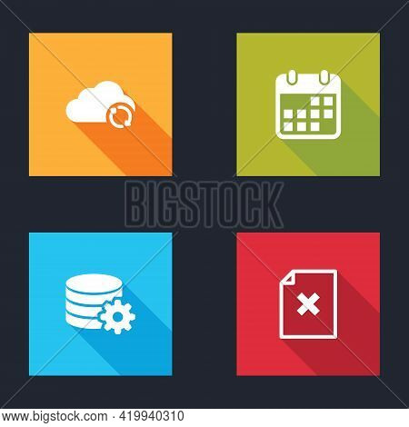 Set Cloud Sync Refresh, Calendar, Setting Database Server And Delete File Document Icon. Vector