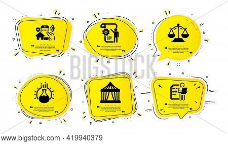 Circus Tent, Justice Scales And Settings Blueprint Icons Simple Set. Yellow Speech Bubbles With Dotw