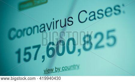 Coronavirus Pandemic Statistics On Screen. Number Of Covid 19 Cases Rising.