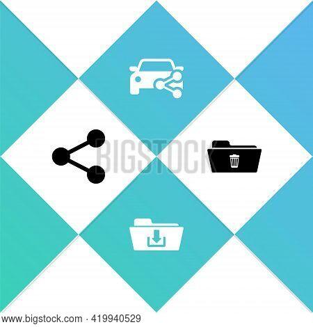 Set Share, Folder Download, Car Sharing And Delete Folder Icon. Vector