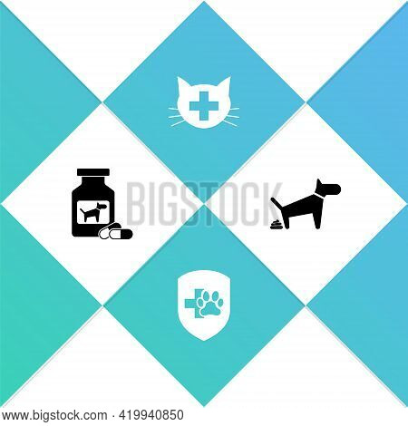 Set Dog Medicine Bottle And Pills, Animal Health Insurance, Veterinary Clinic And Pooping Icon. Vect