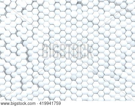 3D render of an abstract background with wall of extruding hexagons