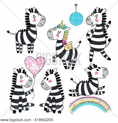 Set Of Cartoon Zebra Isolated On White Background. Funny Black And White Animal In Different Poses.