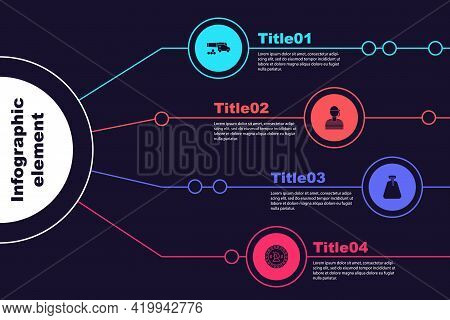 Set Cannon With Cannonballs, Sailor Captain, Pirate Sack And Coin. Business Infographic Template. Ve