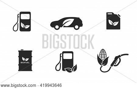 Biofuel Icon Set. Eco Friendly Transport Industry. Environment And Alternative Energy Symbols. Eco A