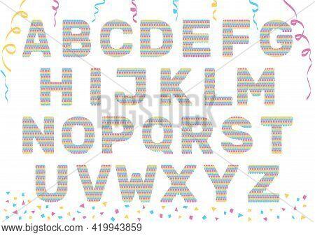 Letter Shaped Pinatas. Set Of Vector Design Element For Greeting Cards, Invitation, Banner, Flier.