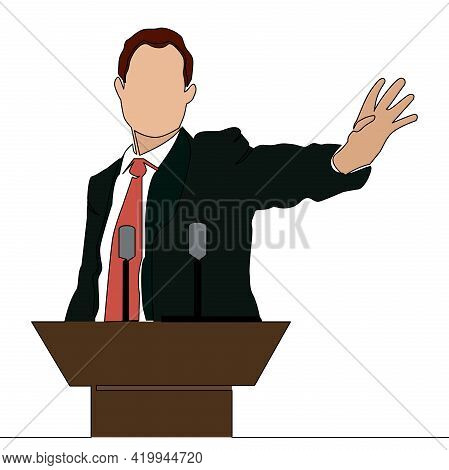 Flat Colorful Continuous Drawing Line Art Orator Stands Behind A Podium Politics Or Business Coach S
