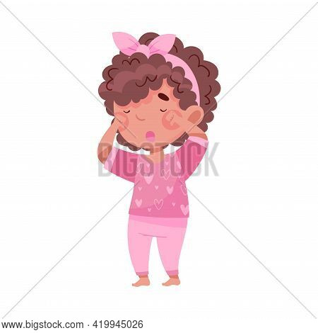Sleepy Little African American Girl Wearing Pajamas Rubbing Her Eyes With Fist And Yawning Vector Il