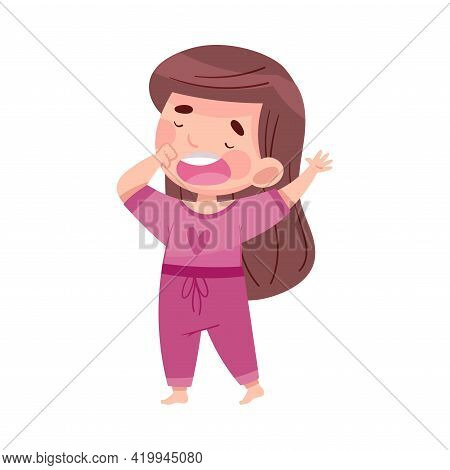 Cute Girl In Pajamas Stretching And Yawning Feeling Sleepy Vector Illustration