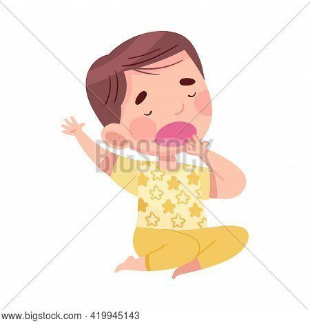 Cute Boy In Pajamas Stretching And Yawning Feeling Sleepy Vector Illustration