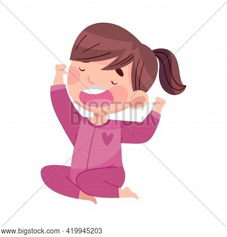 Cute Girl With Ponytail In Pajamas Stretching And Yawning Feeling Sleepy Vector Illustration