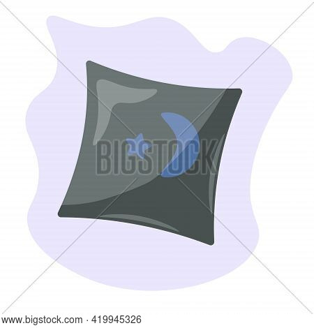 Cozy Gray Pillow With Moon And Stars Decor, Household Item On Abstract Spot Vector Illustration