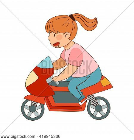 Redhead Girl With Ponytail Riding Motorcycle Enjoying Outdoor Activity Vector Illustration
