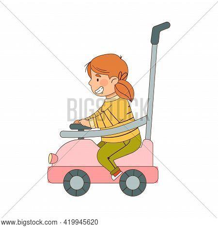 Little Redhead Girl Driving Electric Car Enjoying Outdoor Activity Vector Illustration