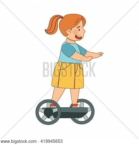 Little Redhead Girl With Ponytail Driving Hoverboard Or Self-balancing Scooter Enjoying Outdoor Acti