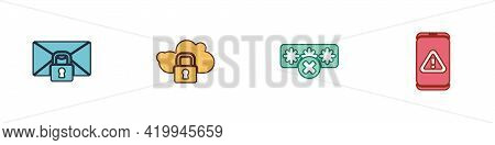 Set Mail Message Lock Password, Cloud Computing, Password Protection And Mobile With Exclamation Mar