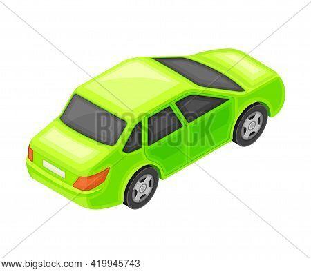 Green Sedan Or Saloon As Passenger Car And Urban Transport Isometric Vector Illustration