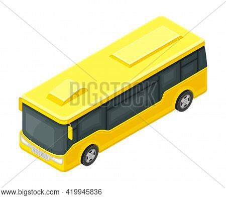 Yellow Bus Or Omnibus As Road Vehicle And Urban Transport For Carrying Passengers Isometric Vector I