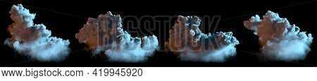 Set Of Different Night Cumulus Clouds Isolated, Cgi Nature 3d Illustration