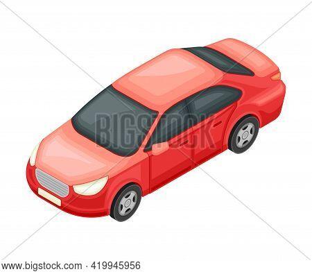 Red Sedan Or Saloon As Passenger Car And Urban Transport Isometric Vector Illustration