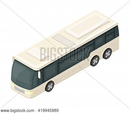 White Bus Or Omnibus As Road Vehicle And Urban Transport For Carrying Passengers Isometric Vector Il