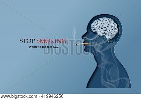 Concept Of No Smoking And World No Tobacco Day With Human Smoking. Paper Collage Style With Digital