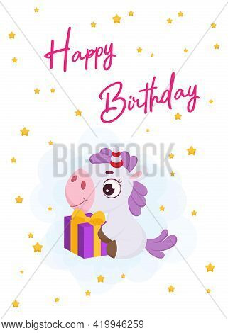Happy Birthday Printable Party Greeting Card With Cute Magical Unicorn Sitting With Gift Box. Birthd